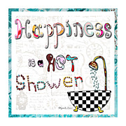 Quirky Painting Framed Prints - Fun Whimsical Inspirational Word Art Happiness Quote By Megan And Aroon Framed Print by Megan and Aroon Duncanson