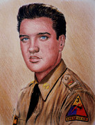 Brown Hair Drawings Posters - G I Elvis  Poster by Andrew Read
