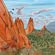 Pinion Paintings - Garden of the Gods by Mike Nahorniak