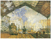 Railroads Painting Framed Prints - Gare Saint-Lazare Framed Print by Claude Monet