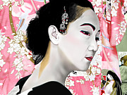 Andrew Harrison Framed Prints - Geisha Framed Print by Andrew Harrison