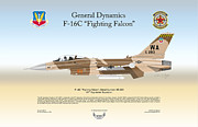 F-16 Aggressor Prints - General Dynamics F-16 Fighting Falcon Print by Arthur Eggers