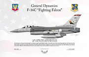 Usaf Posters - General Dynamics F-16C Fighting Falcon Poster by Arthur Eggers