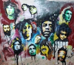 Jimi Hendrix Painting Originals - Genre Greats by Matt Burke