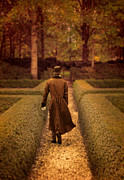 Period Clothing Prints - Gentleman in 18th Century Clothing Walking Print by Jill Battaglia