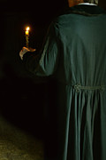 Candle Lit Prints - Gentleman in 18th Century Clothing with a Candle Print by Jill Battaglia