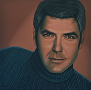 Douglas Prints - George Clooney Print by Paul  Meijering