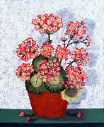 Red Geraniums Prints - Geraniums in a Copper Pot Print by Barbara Griffin