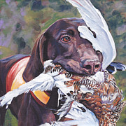 Dog Art Paintings - German Shorthaired Pointer by Lee Ann Shepard
