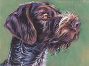 German Shepard Dog Prints - German Wirehaired Pointer Print by Lee Ann Shepard