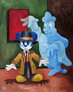 Haunted House Paintings - Ghost Detective by Robert Holewinski