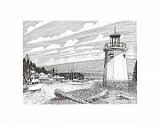 Marine Drawings Posters - Gig Harbor Lighthouse Poster by Jack Pumphrey