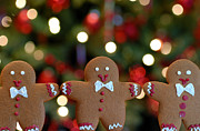 Christmas Lights Prints - Gingerbread Men in a Line Print by Amy Cicconi