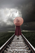 Haze Photo Prints - Girl On Tracks Print by Joana Kruse
