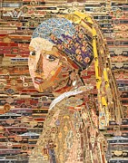 Cigar Mixed Media Prints - Girl with a pearl earring Print by Alexander Gashunin