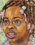 African American Paintings - Girl with Dread Locks by Xueling Zou