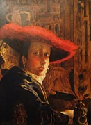 Jan Vermeer Paintings - Girl with Red Hat - after Vermeer by Dagmar Helbig