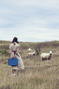 Girl With Sheeps Print by Joana Kruse
