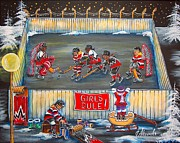 Hockey Player Paintings - Girls Rule by Jill Alexander