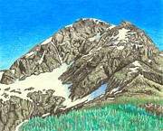 Color Pencil Drawings - Glacier 2 by Lew Davis