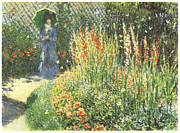Woman In A Dress Prints - Gladioli Print by Claude Monet