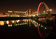 Glasgow Cityscape Framed Prints - Glasgow Clyde Arc Bridge Framed Print by Grant Glendinning