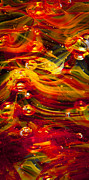 Glass Reflections Posters - Glass Macro Abstract - Molten Fire Poster by David Patterson