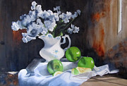 Still Life With Old Pitcher Painting Framed Prints - Glendas Still life Framed Print by Denny Dowdy