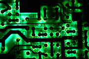 Glowing Green Circuit Board Print by Amy Cicconi