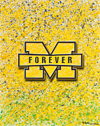 Wolverines Posters - Go Michigan Poster by Lance Graves