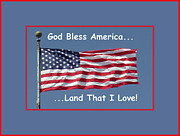 Red White And Blue Digital Art Prints - God Bless America Print by Barbara Snyder