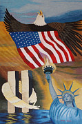 Flag Tapestries - Textiles Framed Prints - God Bless America Framed Print by To-Tam Gerwe
