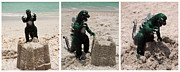 Cartoon Monster Prints - Godzilla Versus the Sand Castle Print by Sharon Cummings