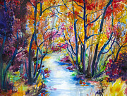 Watercolor Drawings Posters - Golden Autumn Poster by Slaveika Aladjova