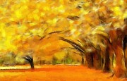 Yellow Leaves Digital Art Prints - Golden Autumn Print by Stefan Kuhn