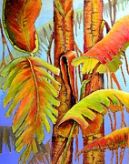 Haitian Paintings - Golden Banana Jungle by JAXINE Cummins