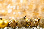 Pine Cone Photos - Golden Christmas  by Elena Elisseeva