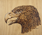 Great Pyrography Metal Prints - Golden Eagle Metal Print by Ron Haist