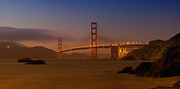 Lit Digital Art Posters - Golden Gate Bridge at Sunset Poster by Melanie Viola