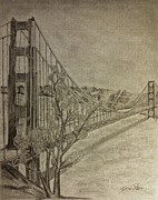 Golden Gate Drawings Posters - Golden Gate Bridge Poster by Irving Starr