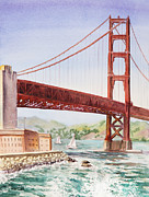 Golden Gate Paintings - Golden Gate Bridge San Francisco by Irina Sztukowski