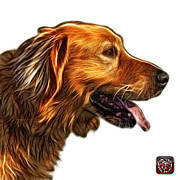 Retriever Digital Art - Golden Retriever - 4047 F by James Ahn