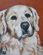 Soulful Eyes Paintings - Golden Retriever by Julie Dalton Gourgues