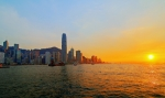 Hong Kong Framed Prints - Golden Sunset in Hong Kong Framed Print by Lars Ruecker