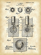 Antique Digital Art Metal Prints - Golf Ball Patent Metal Print by Stephen Younts