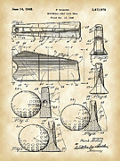 Parchment Framed Prints - Golf Club Head Patent Framed Print by Stephen Younts