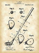 Parchment Framed Prints - Golf Club Patent Framed Print by Stephen Younts
