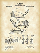 Parchment Framed Prints - Golf Iron Patent Framed Print by Stephen Younts