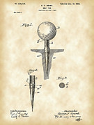 Parchment Digital Art - Golf Tee Patent by Stephen Younts
