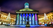 G.a.-2 Framed Prints - GOMA Glasgow lit up Framed Print by John Farnan